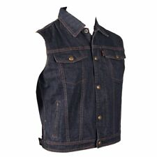 Men's Blue Denim Vest w/ Snap Front Closure, Hidden Zip, Shirt Style Collar and