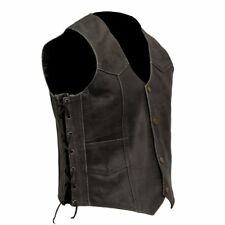 Black Distressed Leather Motorcycle Vest Vintage Aged Look with Stud Buttons S-6