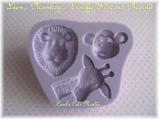 CAKE DECORATING: MONKEY GIRAFFE LION SILICONE MOULD CAKE TOPPERS