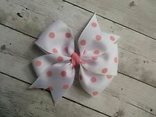 "White with Pink Dots Polka Dot Hair Bow - 4"" Bow - Clip or Barrette"