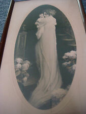 "Antique 1920's Lithograph With Art Deco Wood Frame - 16 1/4"" X 9 1/2"""