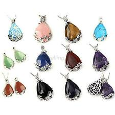 Natural Gemstone Teardrop Flower Pendant Reiki Healing Bead Necklace Jewelr