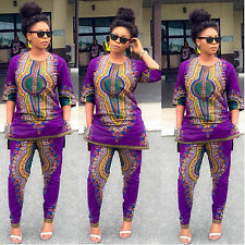 Traditional African Clothing  Sexy Retro Ethnic African Dashiki Two Set pant+top
