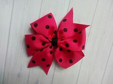 "Hot Pink with Black Dots Polka Dot Hair Bow - 4"" Bow - Clip or Barrette"