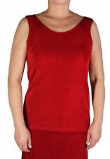 Women's Solid Red Tank Top Plus Size Slinky Travel Knit Stretch Casual Wear