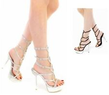 Celeste Sexy Rhinestones Strappy prom Evening Black and silver Heels