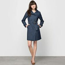 Atelier R Womens Belted Denim Trench Coat With Pockets