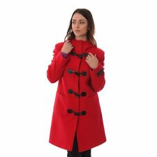 New Ladies Hooded Pocket Wool Cashmere Duffle Coat Jacket in Red