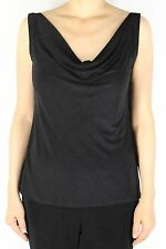 Women's Black Scoop Cowl Neck Tank Top Slinky Casual Travel Outfit + Plus Size