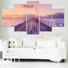 Oil Canvas Painting Seascape Bridge Wall Art Posters and Prints 5pcs No Frame