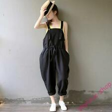 Womens Black New Korean Loose Overalls Leg Pants Casual Harem Suspender Trousers