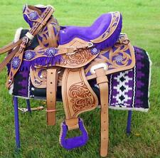 "10"" 12"" Med Oil PURPLE Filigree & Fringe Western PONY MINI TRAIL Saddle HSBP"