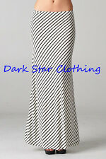 Long Maxi Skirt Stretch/ Black & Ivory PinStripe Long Skirt /Elastic Waist M-L