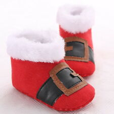 XMAS Baby Infant Christmas Red and White Booties Unisex Crib Shoes Newborn-18M