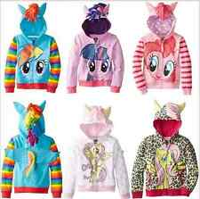 Girls new my little pony Hoodie Wings Kids Jacket Sweater Twilight Rainbow Dash
