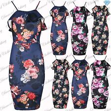 Womens Floral Midi Dress Ladies Cami Strap Ruffle Frill Pencil Bodycon Plus Size