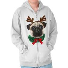 Pug Dog Reindeer Ugly Christmas Sweater Funny Shirt Cute Gift Zipper Hoodie