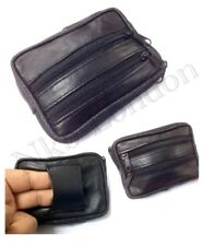 NEW SOFT BLACK  LEATHER COIN POUCH WALLET  POUCH PURSE WITH BELT LOOP