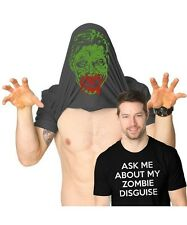 NEW Ask Me About my Zombie Apocalypse Disguise Funny Flip-Up Black T-Shirt Tee