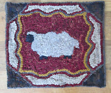 SHEEP WITH OLD TYME BORDER Primitive Rug Hooking KIT WITH #8 CUT WOOL STRIPS