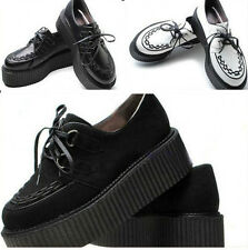HOT Fashion Women's Lace Up Punk Goth Platform Faux Suede Flat Creeper Shoes