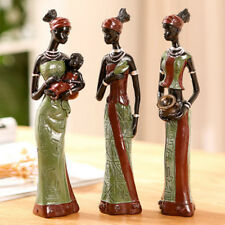 3PCS African Lady With Vase Ornament Ethnic Statue Home Figurine Desk Decor