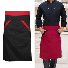 Unisex Cooking Bib Apron Chef Waitress Waiter Waist Half Bib Apron with 2 Pocket