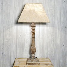 French Style Farmhouse White Washed Distressed Wooden Table Lamp w/ Linen Shade