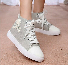 NEW Women's High Top Skull Sneakers Lace Up Platform Wedge Canvas Muffin Shoes