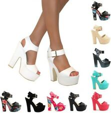 Ladies Womens Chunky Platform High Heel Peep Toe Strappy Shoes