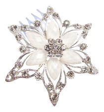 Silver White Crystal Flower Star Wedding Bridal Prom Races Hair Comb Slide Clip