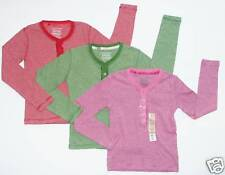 Faded Glory NEW Red Pink Green Lot of 3 Striped Sequins Henley Tee Top Girls S