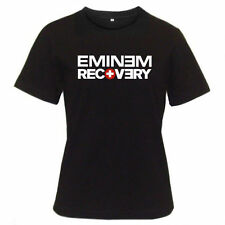 EMINEM RECOVERY Logo Rap Hip Hop Music Women's Black T-Shirt