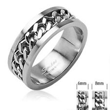 Spinning Chain Center 316L Surgical Stainless Steel Ring. Nice Stainless Steel