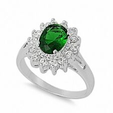 Halo Wedding Engagement Anniversary Ring 925 Sterling Silver 1.20CT Emerald CZ