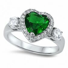 3 Stone Halo Heart Fashion Ring 925 Sterling Silver 2CT Emerald Clear Crystal CZ