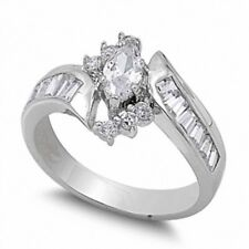 Bypass Brilliant Sparkle Wedding Ring 925 Sterling Silver 1.30CT Russian CZ