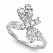 Dragonfly Ring Solid 925 Sterling Silver White Topaz CZ