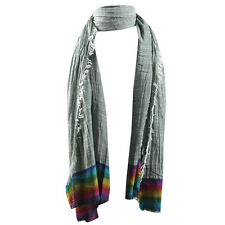 Womens Colorfull Rainbow Cotton Linen Tassels Pashmina Wrap Shawl Scarves Scarf