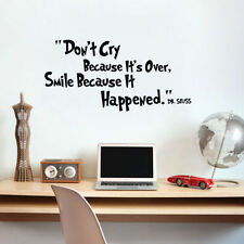 Don't Cry It's Over Smile Dr. Seuss Quote Wall Sticker Inspiring Motivated Decal