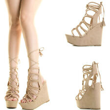 Natural Nude Open Toe Wrap Tie Lace Up Cage High Heel Platform Wedge Pump Sandal