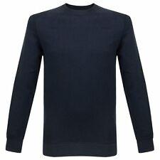 Aquascutum Mens Designer Gilpin Shoulder Check Casual CottonSweatshirt Navy Blue
