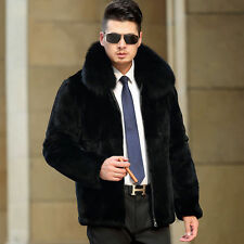 Men's Real Rabbit Fur Black Coat/Jacket Fox with Fur Collar Outwear Slim Coats