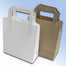 BROWN WHITE FLAT HANDLES SOS TAKE AWAY PARTY PAPER BAGS  MULTI LISTING