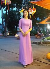 AO DAI Vietnam with Necklace, Chiffon, Long LAP, Light Purple, Round Neck