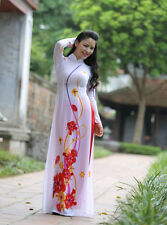 Floral Vietnamese Ao Dai Online Shop, Chiffon Dress, Red Satin Pant, V Neck
