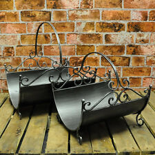 Set 2 Black Metal Fireside Log Basket Bucket Holder for Fireplace