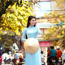 Light Blue Vietnam Ao Dai Custom Made Chiffon Dress, White Satin Pant