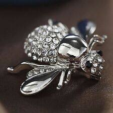 Women Honey Bee Brooch Rhinestone Crystal Costume Pin Silver Gold Pins Brooches