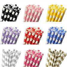25Pcs Vintage Striped Colorful Biodegradable Paper Drinking Straws Party Wedding